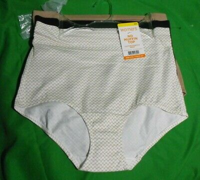 937cef75a419 3 New Warner's Rs5383X Prt/Bk/Bg No Muffin Top Cotton Stretch Brief Panties