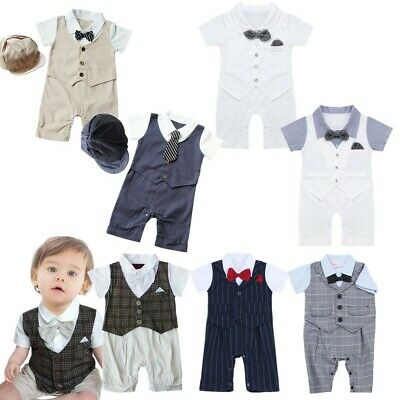 b54ea6f71 Baby Boys Christening Party Plaid Romper One-piece Costumes Tuxedo Suit  Outfit