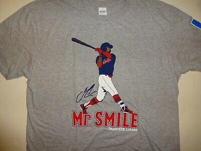 the best attitude 3436c 6460c FRANCISCO LINDOR CLEVELAND Indians jersey MR. SMILE game 5/12/18 SGA  T-SHIRT XL