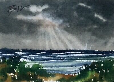 ACEO ATC original art miniature painting ' Sunrays and Sea ' by Bill Lupton