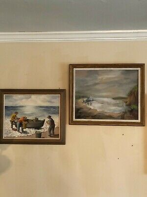 Vtg pair Mary Houghland Original signed oil paintings board Virginia 1940s