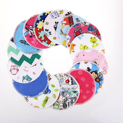QU 4Pcs Bamboo Reusable Breast Feeding Pads Nursing Maternity Organic Washable P