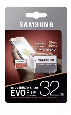 SAMSUNG BRAND NEW Micro SD Card SDHC EVO+ 95MB/s UHS-I Class 10 And Adapter 32GB