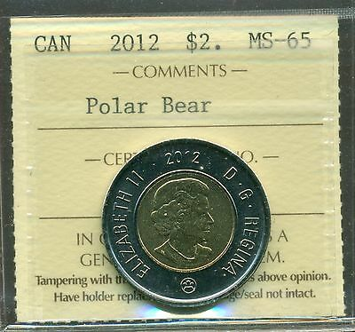 2012 Canada $2.00 Polar Bear ICCS MS-65 Extremely Scarce Old Style