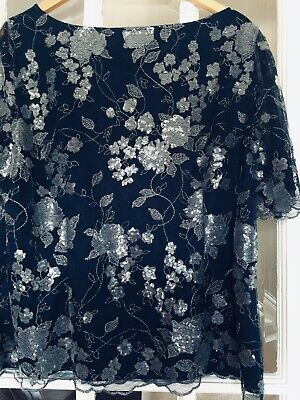 ceabeae2599 Jacques Vert Embroidered Sequined Dress Top Navy Silver Size 22 20 Wedding