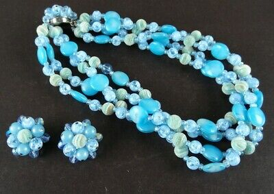 Vintage 1950s 4 Strand Blue Glass Necklace w/ Cluster Earrings