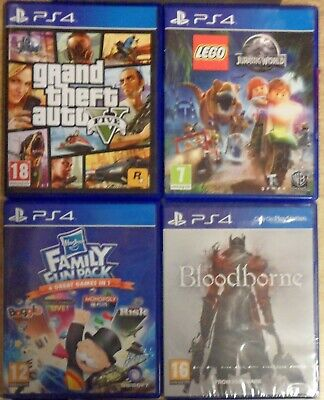 Grand Theft Auto V / Bloodborne / Family Fun Pack / Lego Jurassic World PS4 Lot
