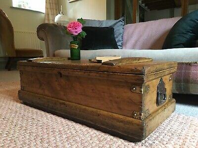 Old ANTIQUE PINE CHEST, Wooden Blanket TRUNK Coffee TABLE Vintage Box & TRAY!
