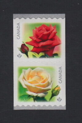 ROSES = Pair of coil/roll stamps = top- RED flower = Canada 2014 #2729a MNH VF