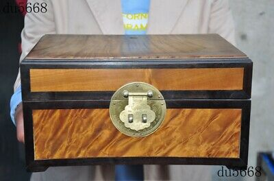 """12""""Rare Old Chinese dynasty Gold Nan wood Hand-carved Jewelry Storage Box Boxes"""