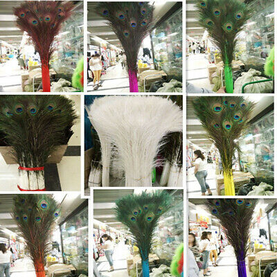 Wholesale!10-1000pcs Quality Beautiful Natural Peacock Feather 28-32inch/70-80cm