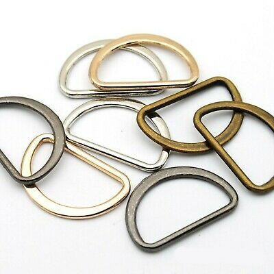 ALLOY D-Rings WELDED Buckles ~ 12mm High x 20mm Wide ~ SILVER GOLD BRASS BLACK