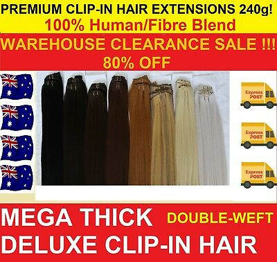 Real Natural Full Head Clip In Hair Extensions Straight 12pc Double Weft Human