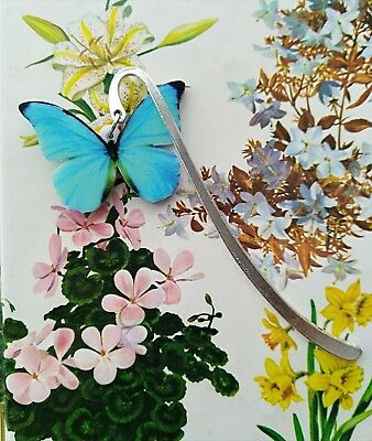 Turqoise Butterfly Metal Bookmark For insect lovers Gift Idea 8.5cm.