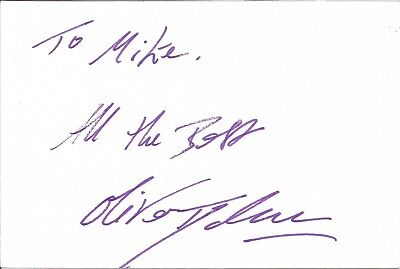 Oliver Tydman actor signed white card dedicated in person autograph Z3205