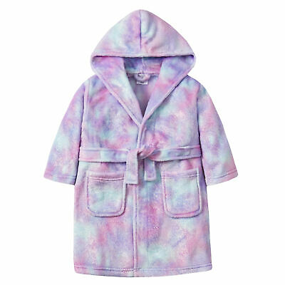 Girls Sherbert Ombre Hooded Dressing Gown Robe Glittery Infants Teen 2-13 Years
