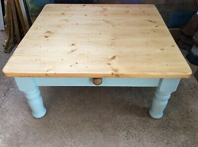 Salvaged Victorian Pine Old Square Painted Coffee Table 46cm X 100cm