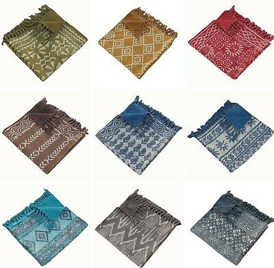 Indian Hand Block Printed Carpet Hand Loomed 100% Cotton Reversible Rug 90x150cm