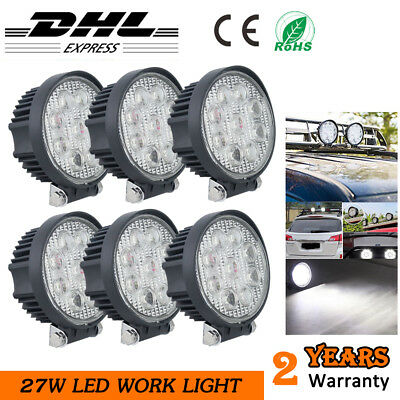 6x 27W Car LED Work Light Round Spotlight 4x4WD Tractor SUV Reverse Lamp 12V 24V