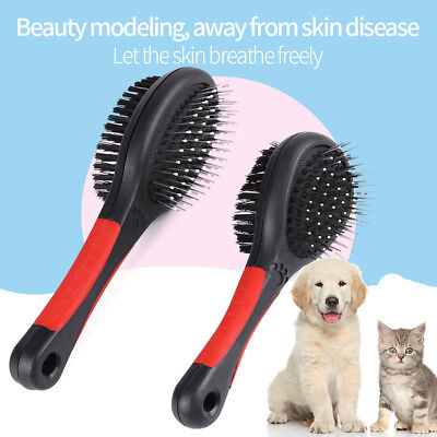 Double Sided Plastic Brush Flea Comb Rubber Mitt Pet Grooming Set For Dog Cat OS