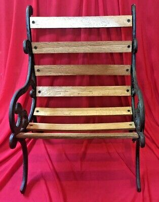 Park Bench Cast Iron Solid Oak Slats Victorian Doll Collection Chair