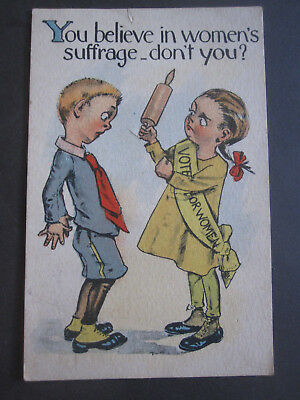 vTg Suffragette Postcard Believe Womens Suffrage right 2 vote intimidating comic