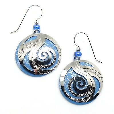 ADAJIO by Sienna Sky Periwinkle Disc with Silver Filigree Overlay Earrings 7487