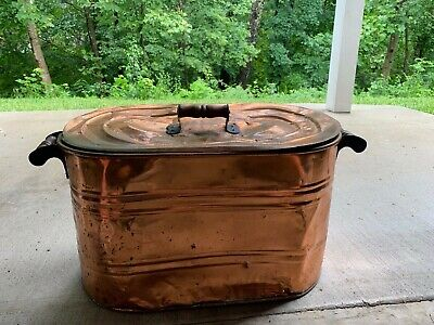 RARE ANTIQUE VINTAGE COPPER BOILER TUB with LID and WOODEN HANDLES