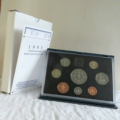 1993 UK 8 COIN ROYAL MINT PROOF SET WITH £5 CROWN - sealed/coa/outer