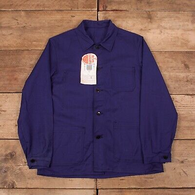 "Mens Vintage Blue de Verdun Deadstock NOS French Worker Jacket Medium 38"" R13035"