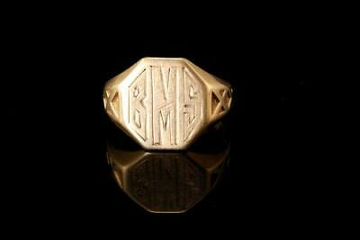 Old Ostby & Barton 14K Gold Monogram Bns Signet Ring A64663