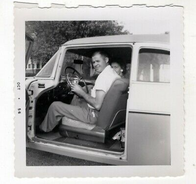 Vintage Photo Man Drinking Beer Inside Classic Car 1950's R8