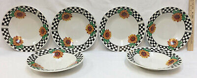 Bowls Tabletop Unlimited Sunny Sunflower w/ Black & White Checks Set of 6 Soup