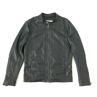 adef244e ZARA MAN BLACK Faux Leather Look Perforated Biker Jacket Casual, Size Large