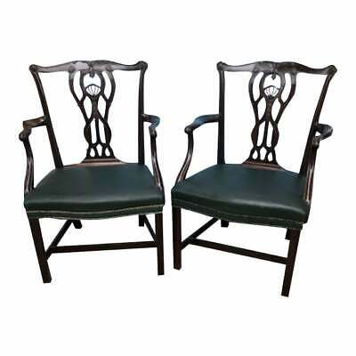 Pair of Antique  Mahogany Federal Style Arm Chairs Leather Seats