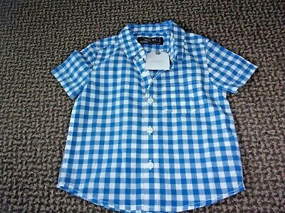"New With Tags Baby Boys ""Next"" Blue/White Checked Shirt Age 6-9 Months"