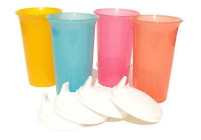 Tupperware 10.5 oz Pastel Bell Tumblers Set & Domed Sippy Sipper Lids Seals New