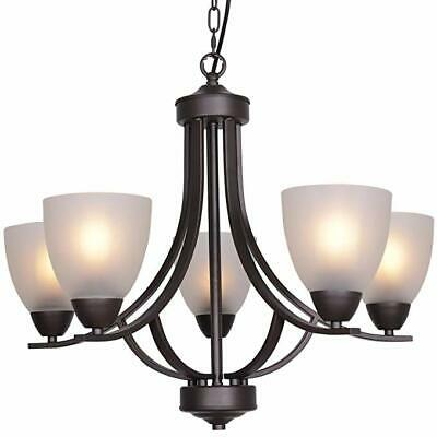 VINLUZ 5 Light Contemporary Chandelier with Alabaster Glass Oil Rubbed Bronze