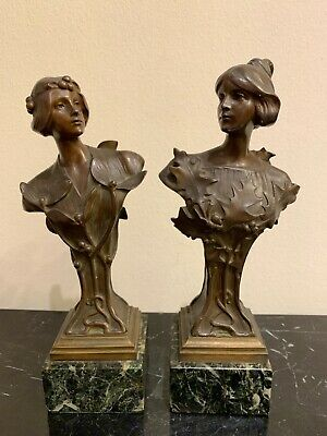 Antique Pair of Hans Muller Art Nouveau Bronze Sculptures