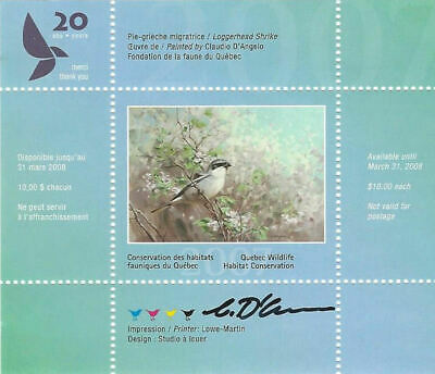 2007 Canada Quebec  Wildlife Habitat Conservation  -DQ52s  signed   Mint NH