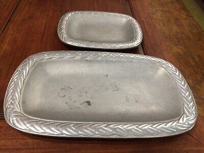 Vintage Pair Wilton Braided Serving Trays Two Different Sizes