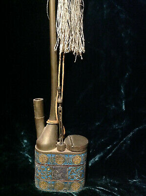 19th Century~TALL~Chinese~Water~Pipe~ENAMEL~ANTIQUE~Lifetime AUTHENTICITY~Tassle