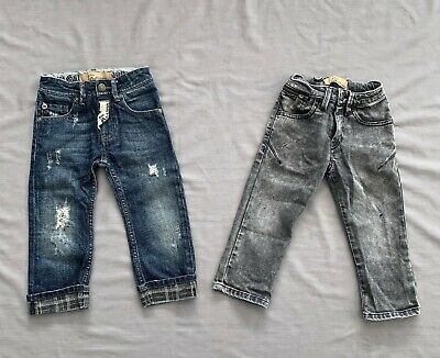 2 PAIRS JOHN GALLIANO Kids BOYS DISTRESSED BLUE DENIM & CHARCOAL JEANS 18 MONTHS