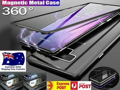 Samsung S8 S8+ S9 S10 PLUS S10e Magnetic Phone case Metal Tempered Glass Cover