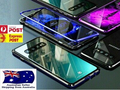 Magnetic Metal Frame Tempered Glass Phone Case Cover Samsung Galaxy S8 S9 S10 +