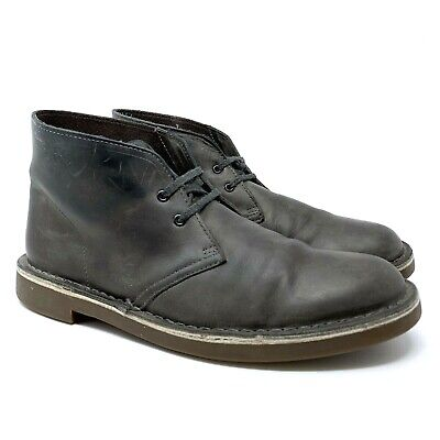 CLARKS Desert Men's Size 8 Grey Leather Lace-Up Ankle Chukka Boots