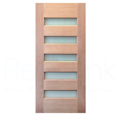 820x2040x40mm Entrance Solid Timber Veneer External Front Entry Door Glass 035