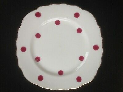 Royal Vale  Red Polka Dot Tea Plate   FREE POST       ref t5