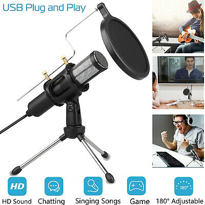 Condenser USB Microphone w/ Tripod Stand for Chat Studio Recording Computer Mic