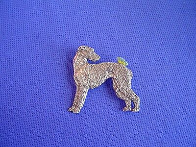 Scottish Deerhound I W Butterfly pin #16i Pewter dog jewelry by Cindy A. Conter